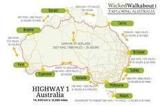 How long does it take to drive around Australia? It's a long drive around Australia! Read more to find out how long it takes to drive around Australia, things to do, best places to see and complete self-drive itineraries. Australia East Coast, Australia Map, Western Australia, Countries In Australia, Visit Australia, Australia Honeymoon, Australia Capital, Perth, Brisbane
