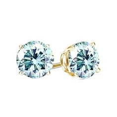 3/5 Ct Round VVS1 Blue Diamond 18K Yellow Gold Over 4-Prong Stud Earrings by JewelryHub on Opensky