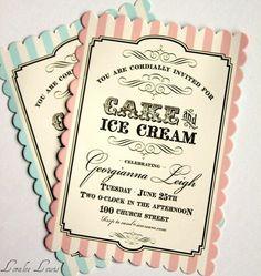 cake & ice cream invitaiton