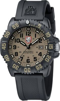 Luminox Mens Evo Navy Seal Colormark Plastic Watch - Black Rubber Strap - Khaki Dial - L3063