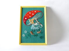 Vintage Framed Funky Gnome Crewel Embroidery by AirFare on Etsy Crewel Embroidery, Vintage Frames, Unique Vintage, Gnomes, Needlework, Stitching
