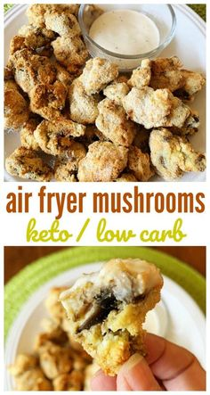 Keto Air Fryer Fried Mushrooms Don't miss your favorite fried foods when you're living the low carb lifestyle. These keto air fryer mushrooms are delicious and won't mess with your macros. It's one dish you must try in your air fryer! Air Fryer Recipes Breakfast, Air Fryer Oven Recipes, Air Frier Recipes, Air Fryer Dinner Recipes, Recipes Dinner, Lunch Recipes, Dinner Ideas, Low Carb Recipes, Diet Recipes