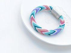"""Bead Crochet Bracelet """"Candy-floss"""" for women beaded rope bead crochet"""