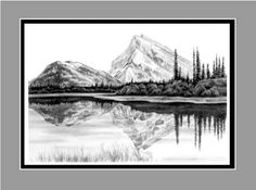 drawing pencil landscape mountain drawings landscapes lake easy sketch reflection mountains draw cool background swan nordic zappos cake mark coloring