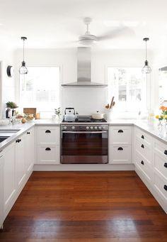 Square bright white kitchen layout