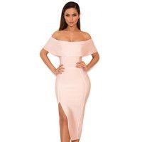 'Danae'  Light Pink Off the Shoulder Bandage Dress