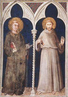 Simone Martini (1285 - 1344) | Saint Anthony and Saint Francis - 1317.  Fresco,   Cappella di San Martino, Lower Church, San Francesco, Assisi.