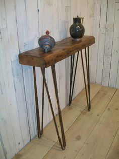 British made Vintage Style industrial chic  Hairpin leg hall table with baltic pine top. door SonnetInteriors op Etsy https://www.etsy.com/nl/listing/196328412/british-made-vintage-style-industrial