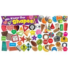 """Includes 48 shape photos, 16 shape labels, """"We Know Our Shapes!"""" banner, and activity guide. 65 pieces. $5.00"""