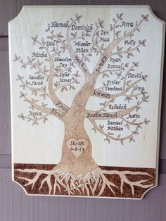 Family Tree Wood Burned Plaque by BurnedThatBridge on Etsy, $50.00