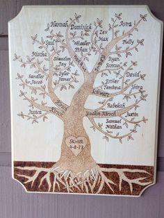 Family Tree Wood Burned Plaque by BurnedThatBridge on Etsy, $50.00