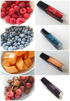 Raspberries=red nail polish, Blueberries=blue nail polish, Cantaloupe=peach nail polish, and Grapes=dark purple nail polish I love that blue! Dark Purple Nail Polish, Peach Nail Polish, Peach Nails, Classy Nails, Simple Nails, Cute Nails, Pretty Nails, Creative Nails, Cool Nail Designs