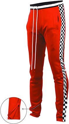 4a6c81b64d Amazon.com: SCREENSHOTBRAND-P11854 Mens Hip Hop Premium Slim Fit Track Pants  - Athletic Jogger Bottom with Side Checker Taping-Red-Large: Clothing