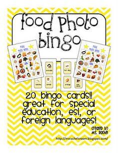 This a bingo game that would be great for Special Education - to teach life skills about the names of food and great for ESL, ASL Life Skills Lessons, Life Skills Activities, Life Skills Classroom, Teaching Life Skills, Esl Lessons, Special Education Classroom, English Lessons, Therapy Activities, Classroom Activities