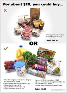 Think eating healthy costs too much? Think again! Take a look at what $20 could buy you!