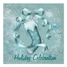 Party Invitation with subtle jeweled and glitter frosted snowflakes over aqua background. Elegant Christmas Stocking and bow on invitation front with matching frosted snowflake pattern on card back. Customize the text area on front and back