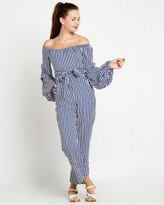 20bd73d3204e9 Buy Stripes Berri Off Shoulder Jumpsuit Online at StalkBuyLove