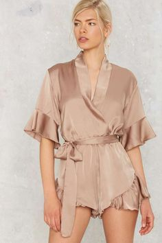 Mad World Ruffled Romper - Tan | Shop Clothes at Nasty Gal!