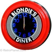 "Blondie Diner Clock in Red: 14"" Diameter, Fluorescent Back Lit w/ Art Deco Design    http://www.retroplanet.com/PROD/17224"