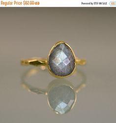 ON SALE  Labradorite Ring  Gemstone Ring  Stacking by delezhen