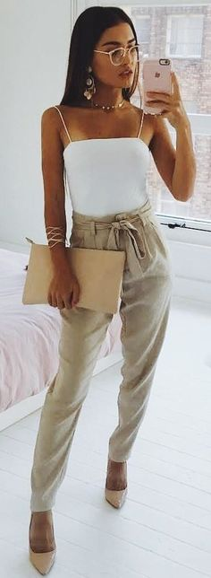 #winter #outfits white spaghetti strap top and gray pants