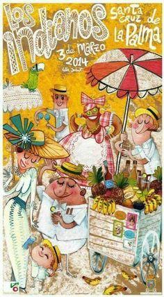 Cartel anunciador del Día de Los Indianos 2014. Carnaval isla de #LaPalma #canarias Por Victor Jaubert