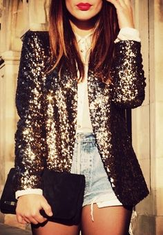 Classy outfit, love the sequin blazer! Street Style Outfits, Looks Street Style, Mode Outfits, Looks Style, Style Me, Dance Outfits, Sequin Blazer, Sequin Jacket, Glitter Jacket