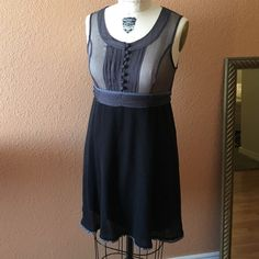 """Free People sleeveless dress Sheer grey and black dress. Bodice is 100% silk and completely sheer. Skirt is 85% acrylic/15% wool. Skirt is lined. Worn once, great condition! From the underarm the length measures 27"""". Free People Dresses Midi"""
