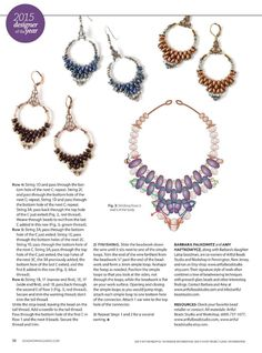 SUPERDUO Earrings - FREE Tutorial by Barbara Falkowitz and Amy Haftkowycz. Beadweaving and wirework. Page 2 of 2