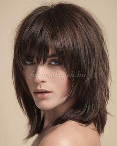 női frizurák félhosszú hajból - lépcsőzetesen nyírt frizura