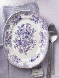 Blue violet hued transfer ware