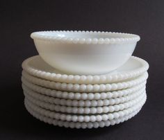 Vintage Set of 8 Milk Glass 7 Saucer with by euphoriaresale, $22.00