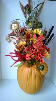 Scarecrow Pumpkin Sunflower Autumn Silk Flower Arrangement