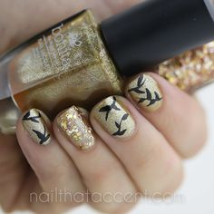 beautiful Gold Nails for #naillinkup - Nail That Accent!