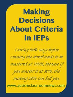 There are so many things to think about with IEPs, but one that we often don't give much thought about is mastery criteria. We tend to slap on 80% of 4/5 on the end of the goal and don't think much about it. However, as I've learned over the years, the mastery level can be ... Read More about Making Decisions About Criteria in IEPs