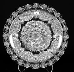 Diamond Point, Round Tray, Silver Tops, Medium Art, Cut Glass, Cool Art, Period, Auction, Crystals