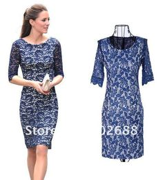 Blue lace dresses | British Princess Kate Style Dark Blue Full Lace Dress, Long-sleeved ...