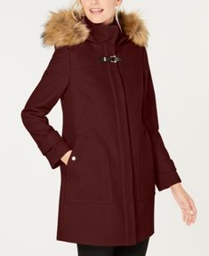 Cole Haan Chevron Quilt Hooded Down Coat, Created For Macy's In Bordeaux Ladies Hooded Coats, Coats For Women, Boucle Coat, Dress With Sneakers, Down Coat, Fur Trim, Trendy Plus Size, Cole Haan, Faux Fur