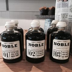 Noble Hancrafted Maple Syrups & Vinegar $44.95.. Barrel matured goodness! Wait till you taste this stuff!! Makes a beautiful gift for pancake lovers or cooks | #noblehandcrafted #reslmsplesyrup #berrynsw #littleraegeneralstore