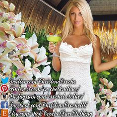 Crochet dress white lace short wedding by CrochetLaceClothing