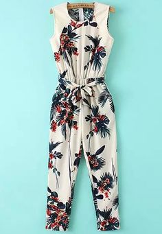 Leaf Print Sleeveless Jumpsuit: I love this. Perfect with my cognac heels!Product name: Beige Sleeveless Leaves Print Tie-waist Jumpsuit at SHEIN, Category: JumpsuitsWomen's jumpsuit - Take Tropical Trip Summer Outfits, Girl Outfits, Cute Outfits, Fashion Outfits, Jumpsuits For Girls, Jumpsuit Pattern, Girl Fashion, Womens Fashion, Mode Style