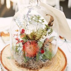 We love the idea of using a terrarium like this for your #reception centerpieces. They offer so many ways to create a custom floral story and bring your wedding theme to life. Via @smpweddings #florals #weddingideas #wedding