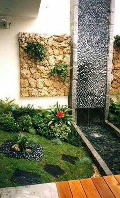 Check out these Solar Water Fountain in garden ideas and bring a refreshing look to your backyard or front yard. Front Yard Garden Design, Small Front Yard Landscaping, Backyard Landscaping, Landscaping Ideas, Water Walls, Backyard Lighting, Ponds Backyard, Interior Garden, Small Gardens