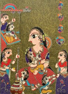 Scenes of Yashoda and Krishna by Bharthi Dayal