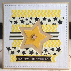 washi tape card with stars