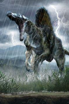Another unrealistic spinosaurus. These unrealistic spinosaurus portrayals will never stop bothering me. Dinosaur Fossils, Dinosaur Art, Dinosaur History, Dinosaur Crafts, Prehistoric World, Prehistoric Creatures, Spinosaurus, Jurrassic Park, Cool Dinosaurs