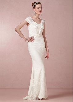 BRILLIANT ALENCON LACE SHEATH SCOOP NECKLINE NATURAL WAISTLINE WEDDING DRESS IVORY WHITE LACE BRIDAL GOWN