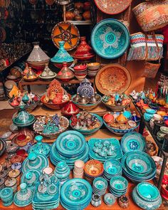 Marrakech style market are just so colorfulThe beauty of Marrakech CreditHappy colors ❤️ hope you're having an amazing day!Moroccan ceramics in all colors Morrocan Decor, Moroccan Bathroom, Moroccan Tiles, Moroccan Colors, Moroccan Art, Moroccan Theme, Moroccan Lanterns, Moroccan Interiors, Bohemian House