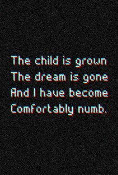Pink Floyd quote Comfortably numb the child is grown the dream is gone and I have become comfortably numb
