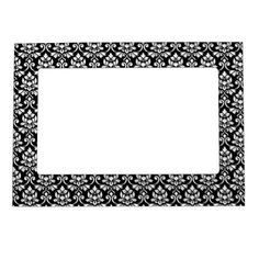 Feuille Damask Rpt Pattern White on Black Magnetic Photo Frame - black and white gifts unique special b&w style